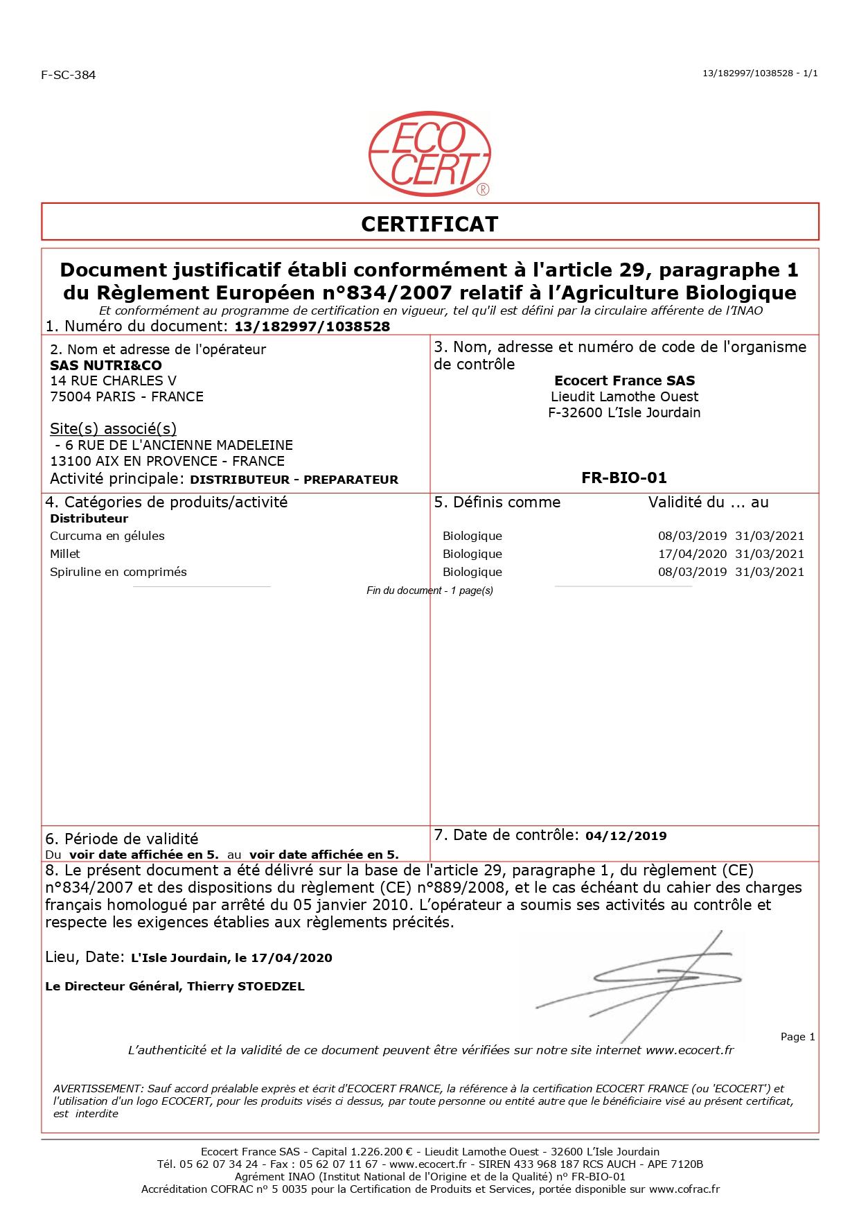 Certificat Ecocert Spiruline