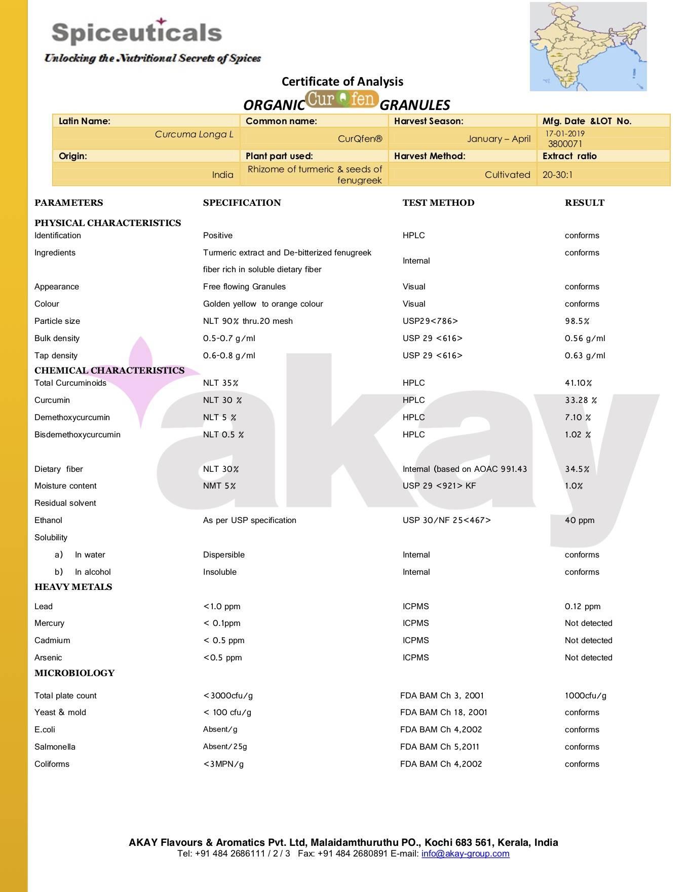 Certificat d'analyse Curqfen bio