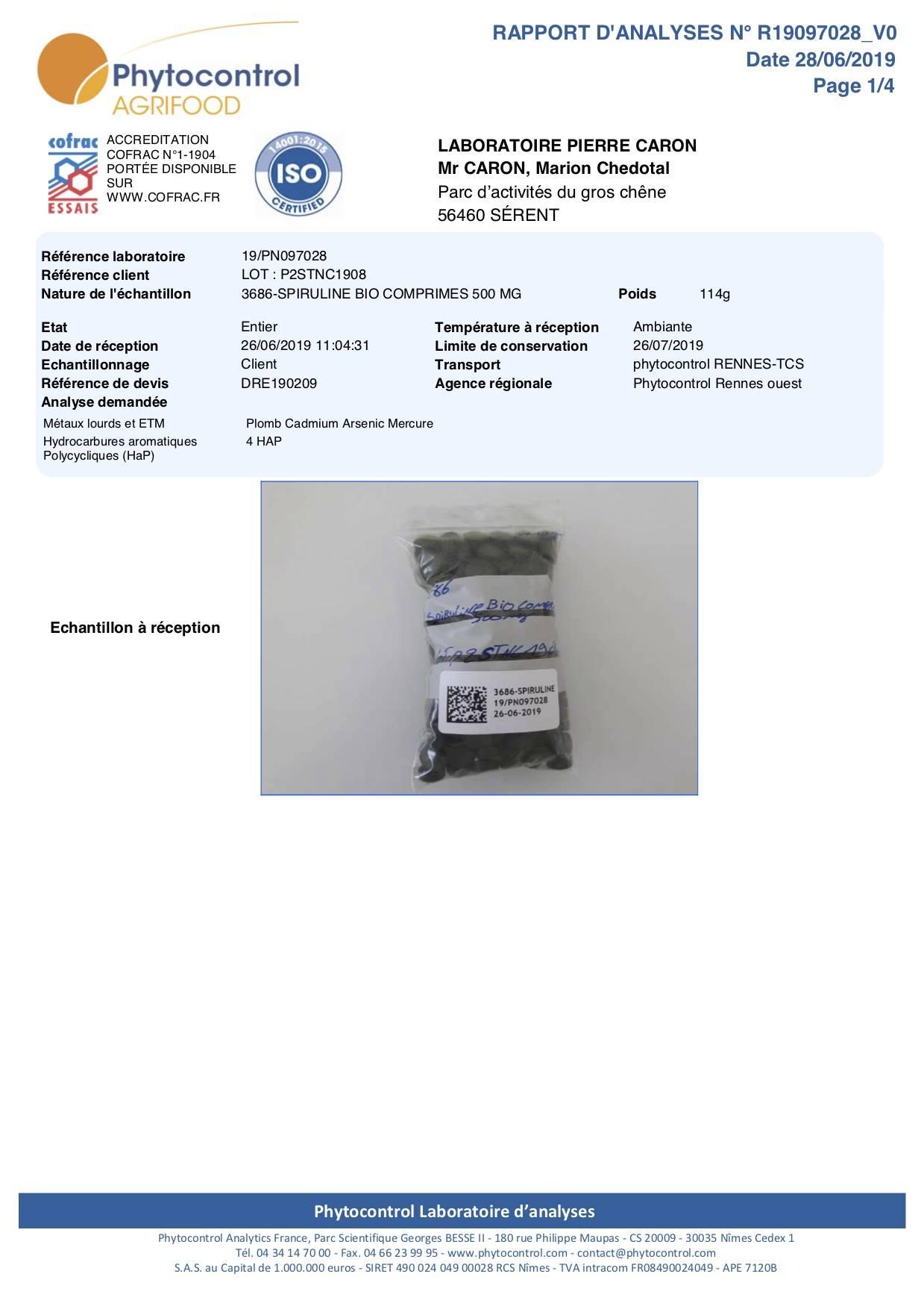 Analyse pesticides Spiruline